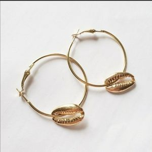 Gold hoop earrings Puka shell New large boho